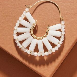 NWT Anthropologie White Stone Hoop Earrings